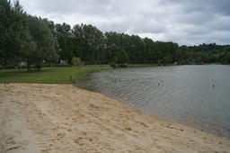 Le Septentrion with imported sand for lochside beach